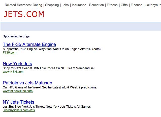 Jets.com Screenshot