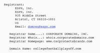 CollegeFootballPlayoff.com Whois