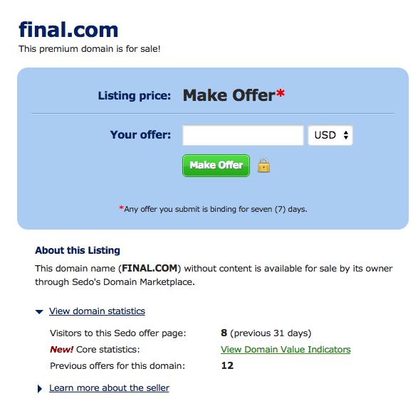Final.com on Sedo