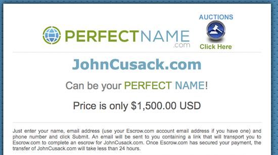 JohnCusack.com Landing Page