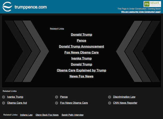 TrumpPence.com Domain Name Screenshot