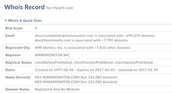 Heart.com Whois Record