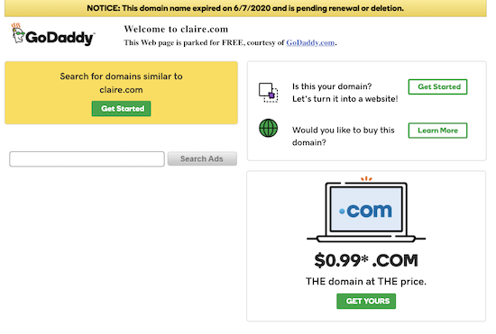 Godaddy This Domain Name Expired On 6 7 2020 Domaininvesting Com